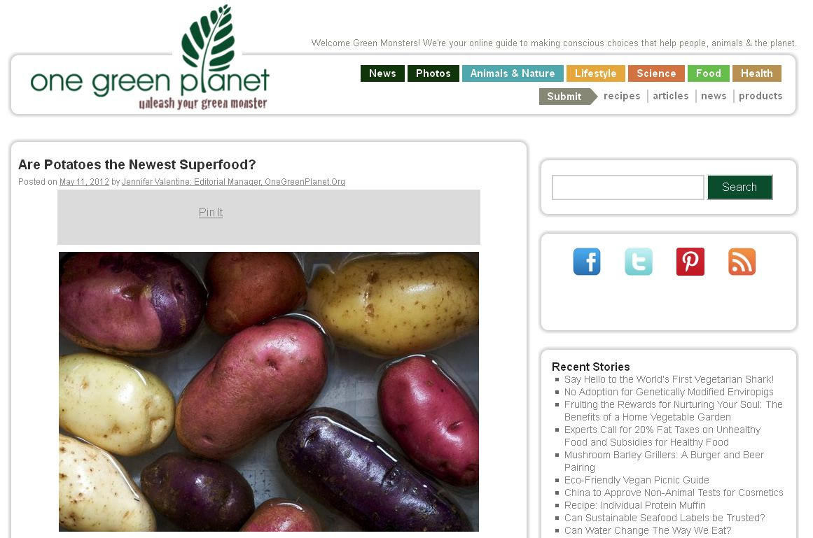 Screenshot of article about potatoes