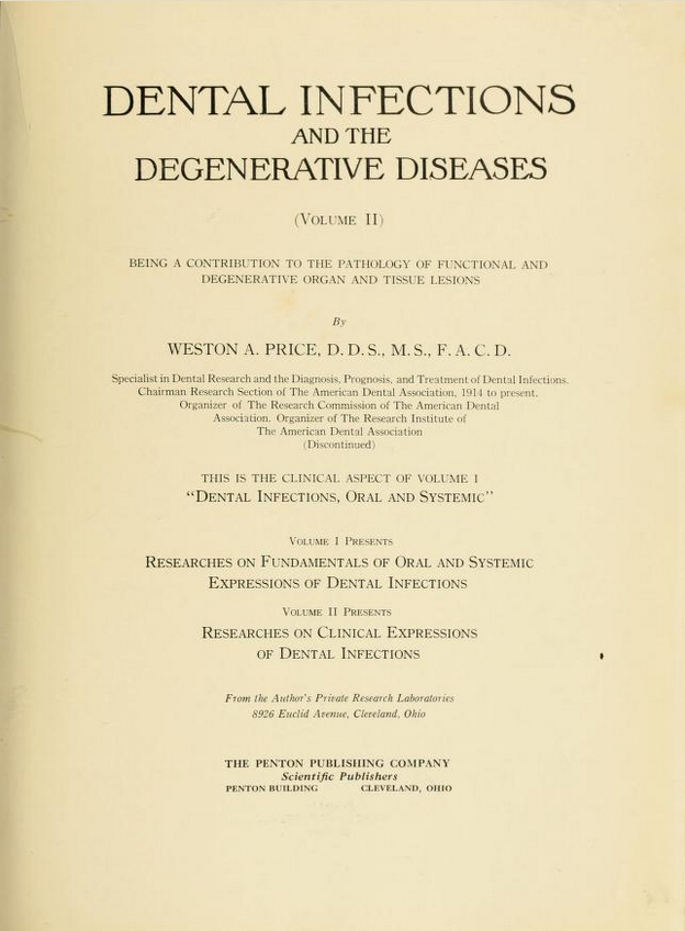 title page of Price's 2nd volume on dental foci
