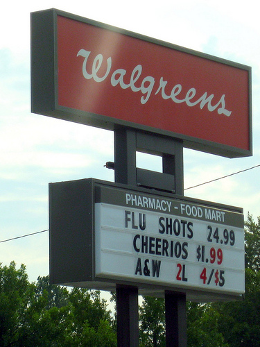 Walgreen's sign advertising flu shots